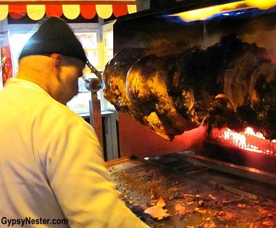 Spinning hams at the Christmas Market in Bratislava, Slovakia