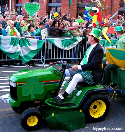 The wearin' of the John Deere Green at the World's Shortest St. Patrick's Day Parade in Hot Springs, Arkansas!