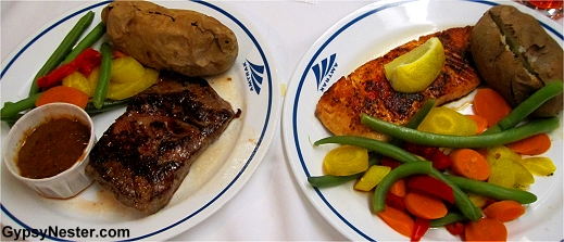 Dinner selections on Amtrak! Steak and salmon