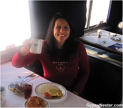 Veronica marks her 48th state - North Dakota! Celebrating with crab cakes for breakfast on the Empire Builder