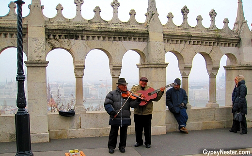 Musicians play on Fisherman's Bastion in Budpest, Hungary