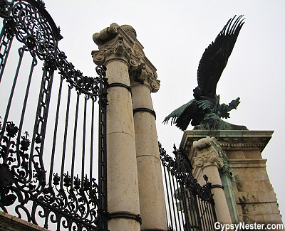 The gate at Sándor Palace in Budapest, Hungary