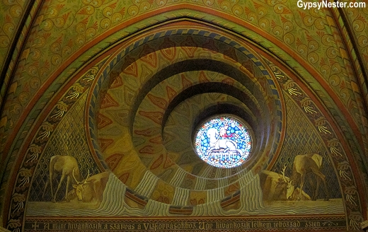 A wonky window inside Matthias Church serves as the second most important church in Budapest, Hungary