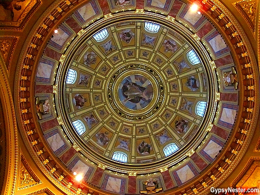 The breathtaking dome cupula of St. Stephen's Basilica, Budapest, Hungary