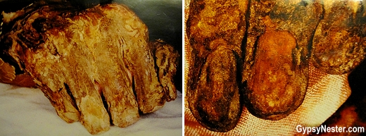 The one thousand year old mummified hand of Saint Stephen is kept in a glass case in Budapest, Hungary
