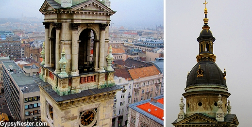 Close up of the towers of St. Stephen's Basilica in Budapest, Hungary