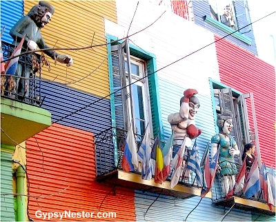Statues adorn most balconies in Boca in Buenos Aires