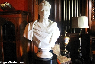 A strange bust of John Deere at the Deere-Wiman house in Moline Illinois