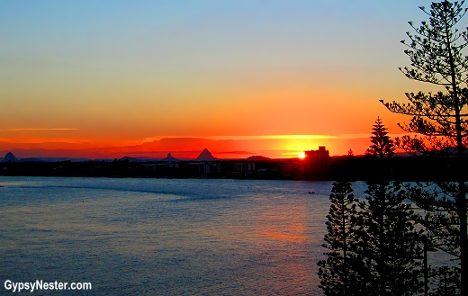 Sunset over the Glasshouse Mountains from our balcony at Rumba Resort in Caloundra, Queensland, Australia