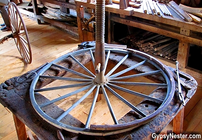 Wheelwright table at The Campbell Carriage Factory in New Brunswick, Canada