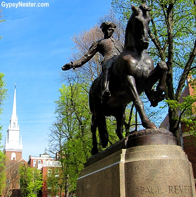 Paul Revere statue and the Old North Church, Boston