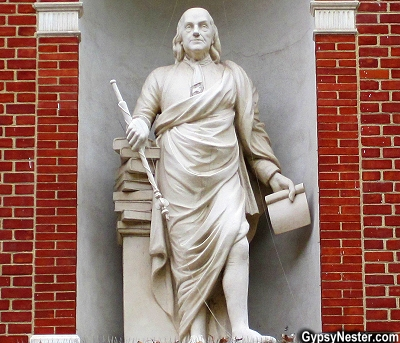 Statue of Ben Franklin at Library Hall, Philadelphia