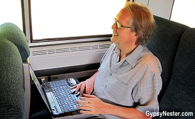 David uses the wifi on Amtrak