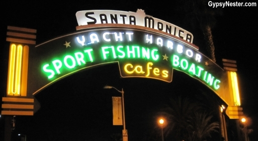Santa Monica Yacht Harbor Sign at Night