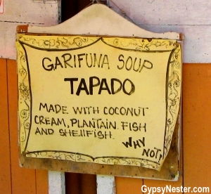 A sign for Tapado in Livingston, Guatemala