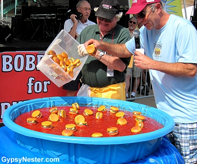 Bobbing for Burgers at the Hamburger Festival in Akron Ohio
