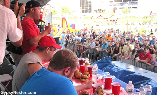 Hamburger Eating Contest in Akron, Ohio