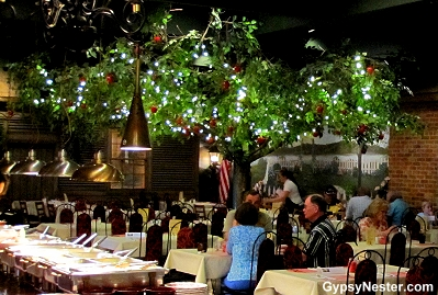 Sit under an indoor apple tree in Hotel Nauvoo, Illinois