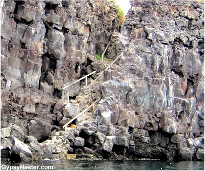 Prince Phillip's Steps, a narrow path in a fissure of the volcanic ridge