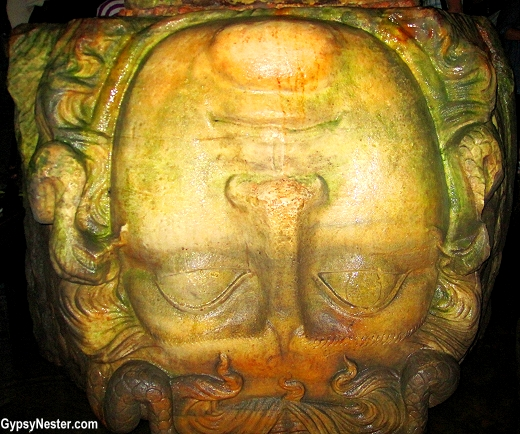 Upside-down Medusa in Basilica Cistern in Istanbul, Turkey