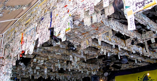 Dollar bills decorate Willy T's in Key West