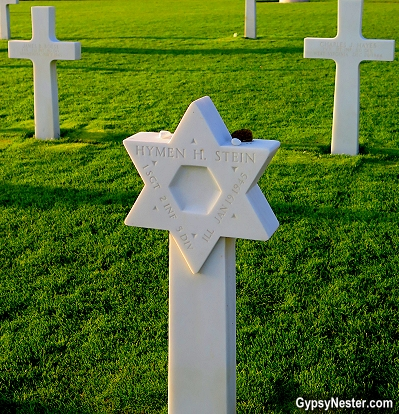 Headstone of a Jewish solidier at Luxembourg American Cemetery