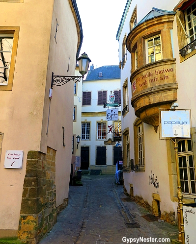 A cool, narrow street in Luxembourg