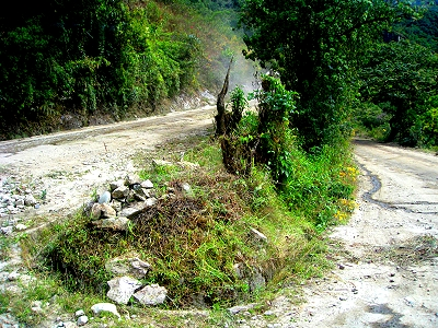 A switchback on the bus road up to Machu Picchu