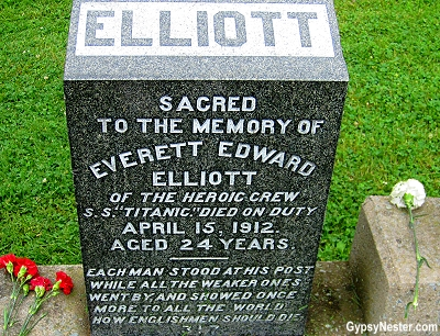 Elliot grave stone at the Titanic Cemetary in Halifax, Nova Scotia