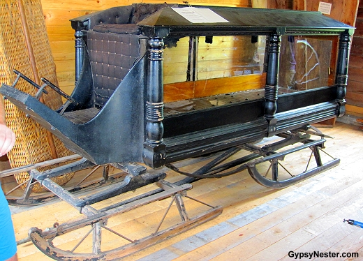 A hearse sleigh at the Campbell Carriage Factory, New Brunswick