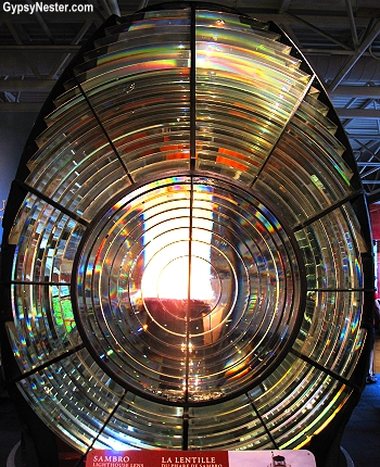 A nine foot high lens from the Sambro Island Lighthouse, the oldest surviving lighthouse in North America