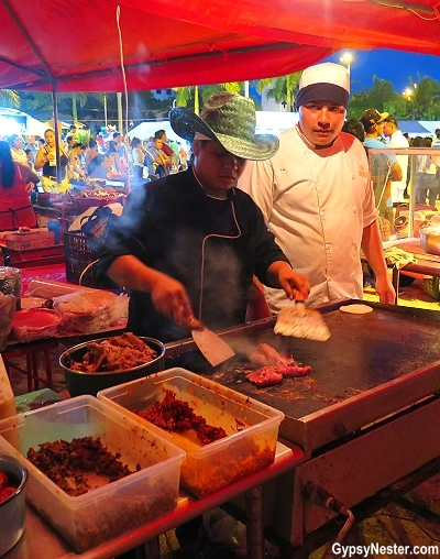 Cooking street tacos in Cancun Mexico