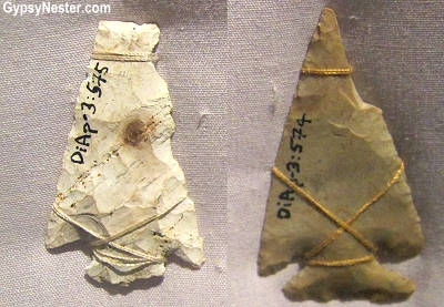 Arrowheads at Beothuk Interpretation Centre Provincial Historic Site in Newfoundland, Canada