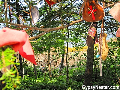 Talismans are hung in the Spirit Garden at Beothuk Interpretation Centre Provincial Historic Site in Newfoundland, Canada