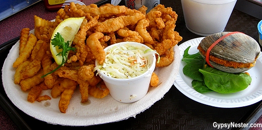 Clam strips and Quahog in Newport, Rhode Island