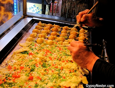 Making Takoyaki in Osaka, Japan