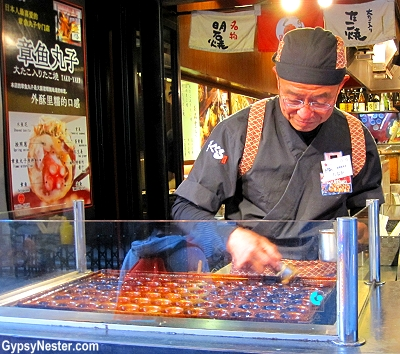 Takoyaki, which translates to fried octopus, is said to have been invented in 1935 by a street vendor named Tomekichi Endo, and has become the definitive Osaka snack.