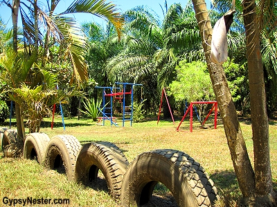 The playground at a palm plantation school in Costa Rica