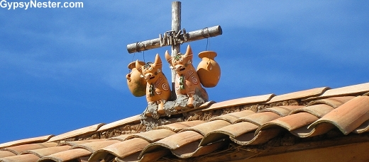 Roof shrines in The Sacred Valley, Peru