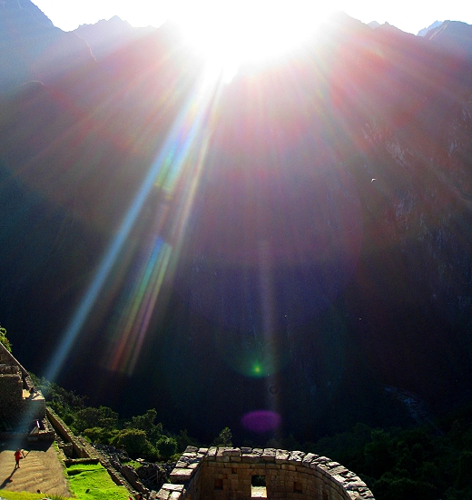 Sunrise at the Temple of the Sun in Machu Picchu Peru