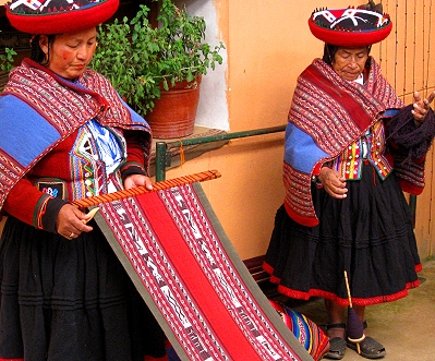 Women at a weaving coop in Peru's Sacred Valley