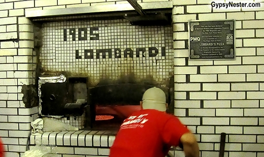 The coal fired pizza oven at Lombardi's Pizza in New York City