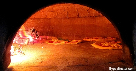 The wood-fired pizza oven at Forcella in New York City