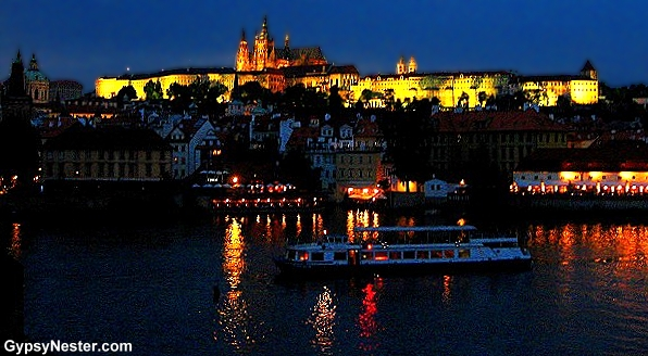 Prague Castle at night from the Charles Bridge, Prague, Czech Republic