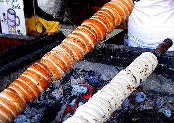 Rotisserie sweet rolls called Trdelník