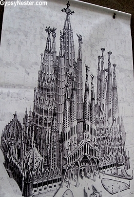 A drawing of the finished Sagrada Familia