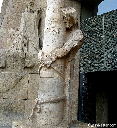 Statues on the Passion Facade, Sagrada Familia, Barcelona, Spain