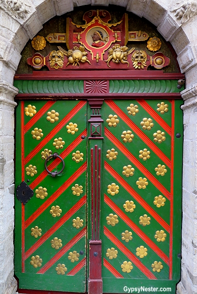 The distinctive door of The Brotherhood of Blackheads in Tallinn, Estonia