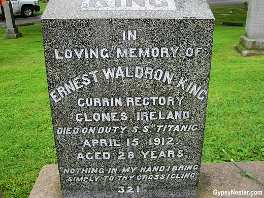 The headstone of Ernest Waldron King in the Titanic Cemetery, Halifax, Nova Scotia