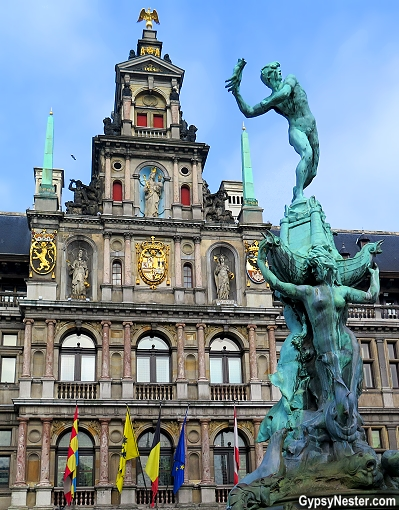 Antwerp, Belgium's city hall with Brabo the giant slayer - and hand cutter